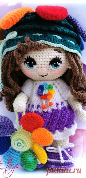 PDF Пупс малышка Цветик-семицветик крючком. FREE crochet pattern; Аmigurumi doll patterns. Амигуруми схемы и описания на русском. Вязаные игрушки и поделки своими руками #amimore - кукла в костюме цветка, куколка цветочек.