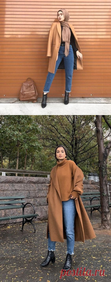 Chic Ways to Style Camel Coat With Hijab Outfit - Hijab-style.com