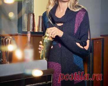 Платье Патриция спицами ~ Свое рукоделие Элегантное платье до колен вязаное спицами в технике интарсия. Глубокий вырез, украшеный длинным шарфом, и разрезы на рукавах добавляют интригу. Размеры: