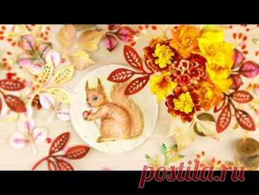 😍Невероятная Красота! Открытка с белочкой и цветами. Процесс создания от декора до композиции DIY
