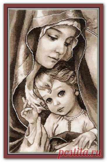схема для вышивки крестом Мадонна с младенцем