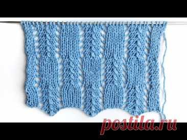Лёгкий ажурный узор с вертикальными линиями / Узор доя новичков в вязании спицами