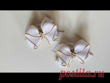 Бантик из ленты 2,5 см 🎀🎀. Bows from ribbon 2,5 cm 🎀🎀