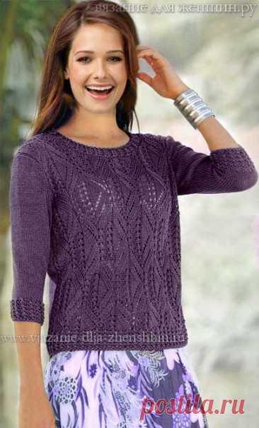 El esquema de la labor de punto por los rayos del pulóver femenino