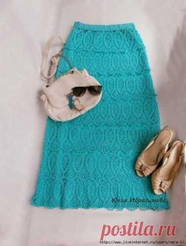 Бирюзовая юбка крючком
