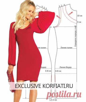 Выкройка трикотажного платья с рукавами А. Корфиати Выкройка трикотажного платья с рукавами. Выкройка бордово-красного триоктажного платья с рукавами-плиссе - простая выкройка и инструкции по пошиву