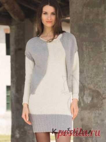 Вязание спицами - Двухцветный комплект из платья и жилета, описание вязания