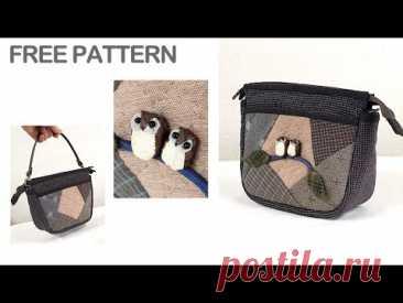 Косметичка или маленькая сумочка с птичками, пэчворк