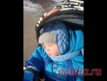 Шапка-ушанка для мальчика спицами