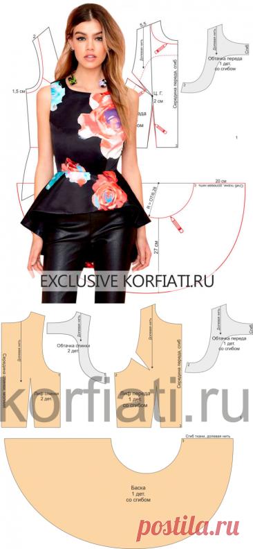 Простая выкройка блузки-топ от Анастасии Корфиати
