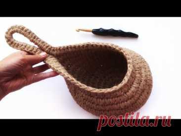 Подвесная корзинка-капелька крючком. ЭКО вязание из джута | Nadezhda Lab