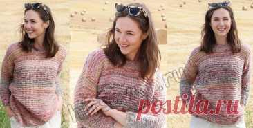 Модный свитер спицами Painted Rose - Хитсовет