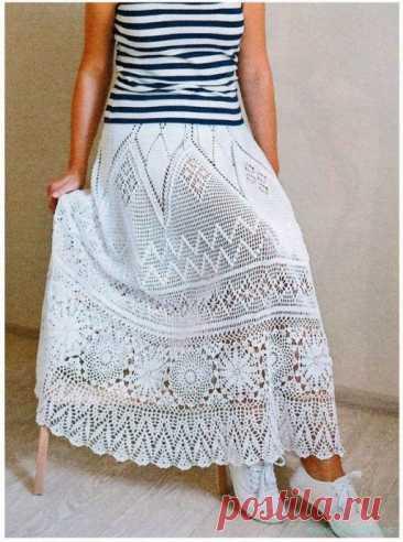Невероятно красивая юбка крючком длиной почти до пола