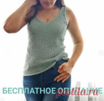 Майка / топ спицами из буретного шелка, Вязание для женщин