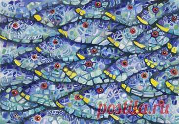Mosaic School At Sea by Charlsie Kelly Mosaic School At Sea Painting by Charlsie Kelly