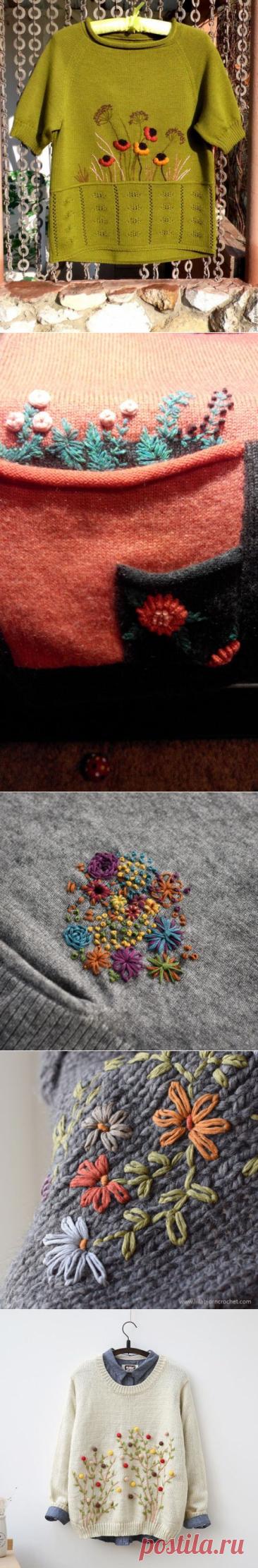 Чем украсить вязаные изделия? Вышивкой! | ВЯЗАНИЕ СПИЦАМИ ИКРЮЧКОМ | Яндекс Дзен