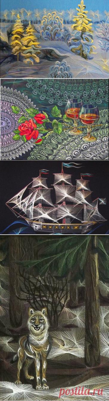Картины из нитей Людмилы Сашко