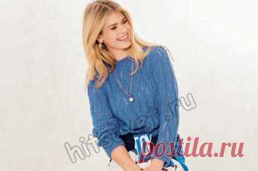 Женский вязаный пуловер с дырчатым узором - Хитсовет
