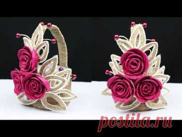 How to make a beautiful basket with plastic bottle and jute rope | best out of waste