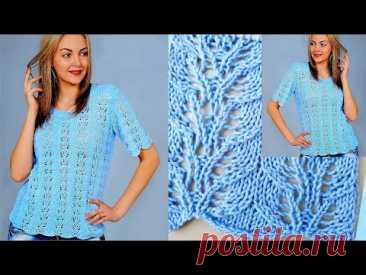 Красивейшая голубая блуза ажурным вертикальным узором