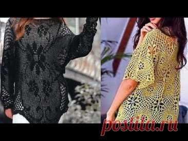 Женские кофточки крючком - Women's crocheted blouses - YouTube
