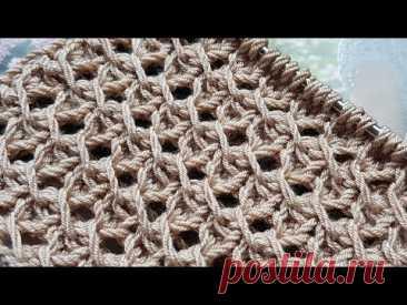 Этот узор спицами потрясающе эффектен ☕🍂 knitting pattern.