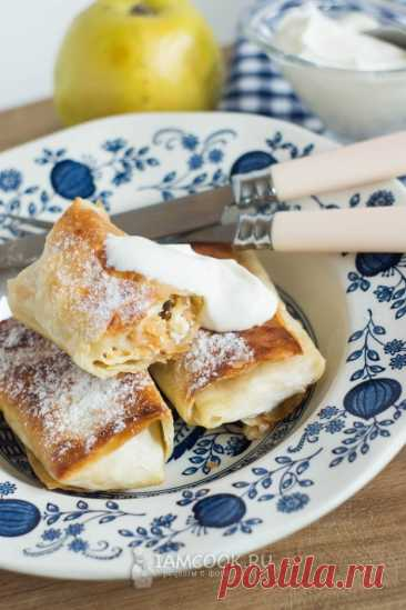 Горячий лаваш с яблоками и творогом — рецепт с фото пошагово