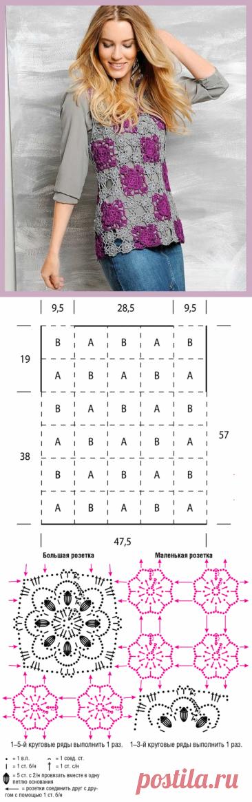Ажурный топ из мотивов / Вязание крючком