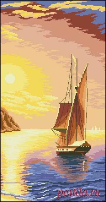 схема для вышивки крестом Закат на море
