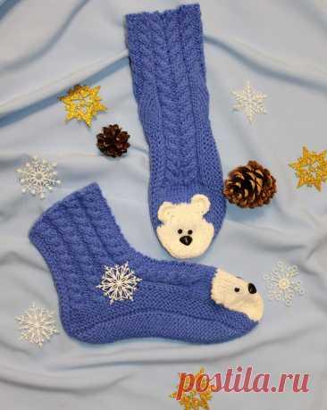 Вяжем детские тёплые носочки с мордочкой медвяжонка!!! Ваш ребёнок будет носить их с большим удовольствием!!! | Клубочек-вязаные изделия | Яндекс Дзен