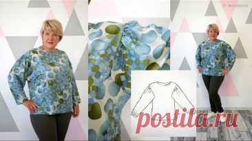 Рукав Доломан. Оригинальная блуза без выкройки. Построение блузы сразу на ткани