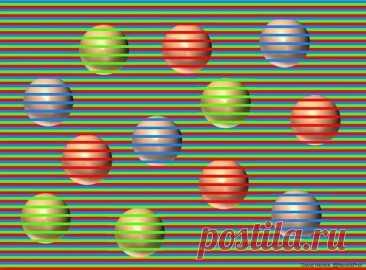 Оптическая иллюзия: все шары на этом рисунке одного цвета, а как видите вы?    Яблык Оптические иллюзии Дэвида Новака представляют собой изображения однотонных кружков перечеркнутых разноцветными линиями, за счет которых нам кажется, что круги цветные...