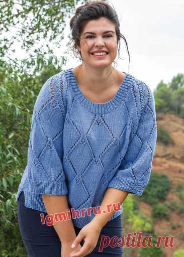 Пуловер с ажурными ромбами для полных дам.
