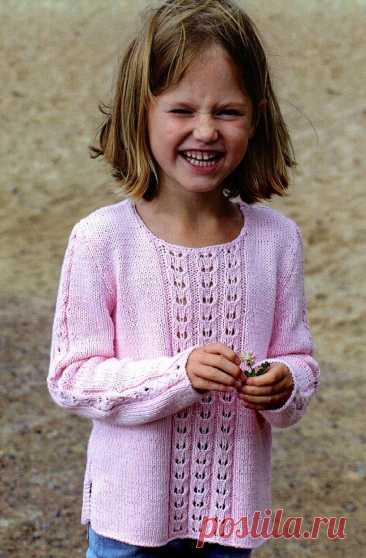Детский джемпер с ажурной вставкой (Вязание спицами) – Журнал Вдохновение Рукодельницы