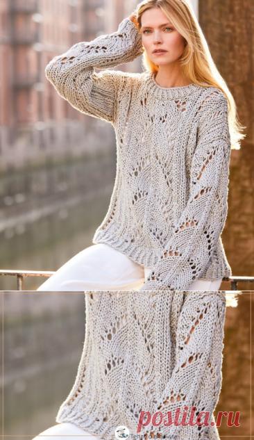 Только очень уверенный в себе мастер может связать ажурный пуловер из толстого хлопка