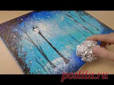 Техника росписи алюминия / Как нарисовать пару в снежный день / Легкое творчество