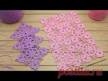 Очень простой КВАДРАТНЫЙ МОТИВ вязание крючком СОЕДИНЕНИЕ МОТИВОВ мастер-класс Crochet square motifs