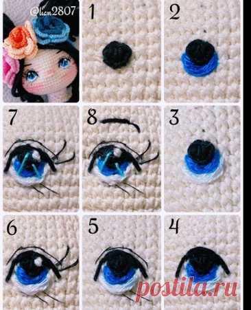 Вышиваем глаза кукле