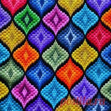 Флорентийская  вышивка барджелло - просто и эффектно (техника и схемы) » Женский Мир