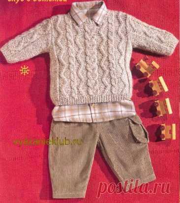Пуловер спицами для мальчика от 0 до 3 лет - Для детей до 3 лет - Каталог файлов - Вязание для детей
