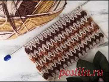 Узор спицами  двухцветные зигзаги  для вязания свитера, кардигана, шапки