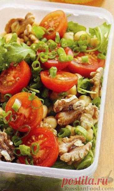 Рецепт: Салат с томатами, нутом и рукколой на RussianFood.com