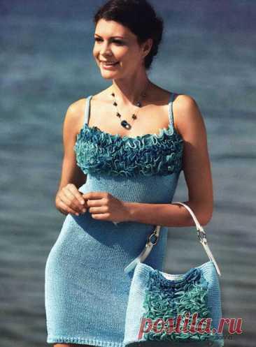 Платье на бретелях и сумка Обаяшка платочной вязкой спицами – схема выкройки с описанием вязания