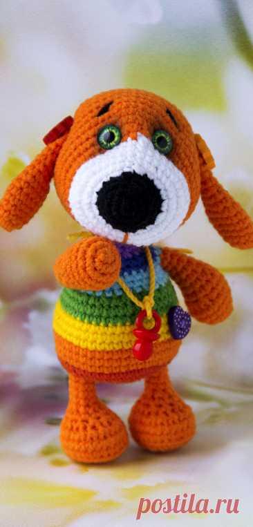 PDF Радужный щеночек крючком. FREE crochet pattern; Аmigurumi animal patterns. Амигуруми схемы и описания на русском. Вязаные игрушки и поделки своими руками #amimore - Собака, собачка, щенок, пёс.