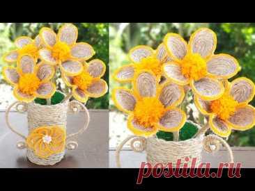 Flower And Flower Vase With Plastic Bottle || DIY Jute Rope Flower || Jute Craft Decoration Design
