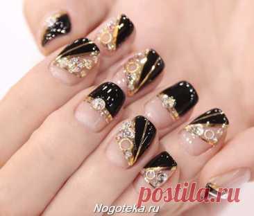 Черно-золотой маникюр: фото идеи черных ногтей с золотым дизайном