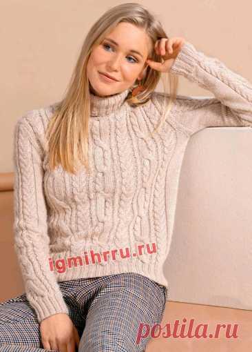 Кашемировый свитер с узором из «кос». Вязание спицами со схемами и описанием