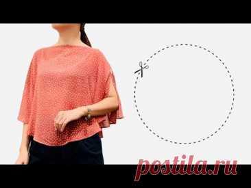 Крой и пошив круглых блузок Very easy | Блузка с рукавами бабочки