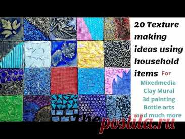 20 Texture making ideas using Household items for Mixedmedia, Bottle art, 3d painting, Clay Murals