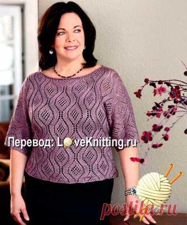 Ажурный пуловер для пышных дам